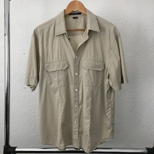 Theory Tan Short Sleeve Button Front Casual Shirt